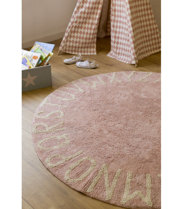 Round ABC Vintage Nude Pink Rug-Lorena Canals-The Bugs Ear