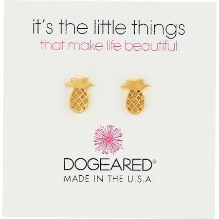 Dogeared It's The Little Things Teeny Gold Pineapple Earrings-Dogeared-The Bugs Ear
