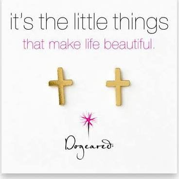 Dogeared It's The Little Things Teeny Gold Cross Earrings-Dogeared-The Bugs Ear