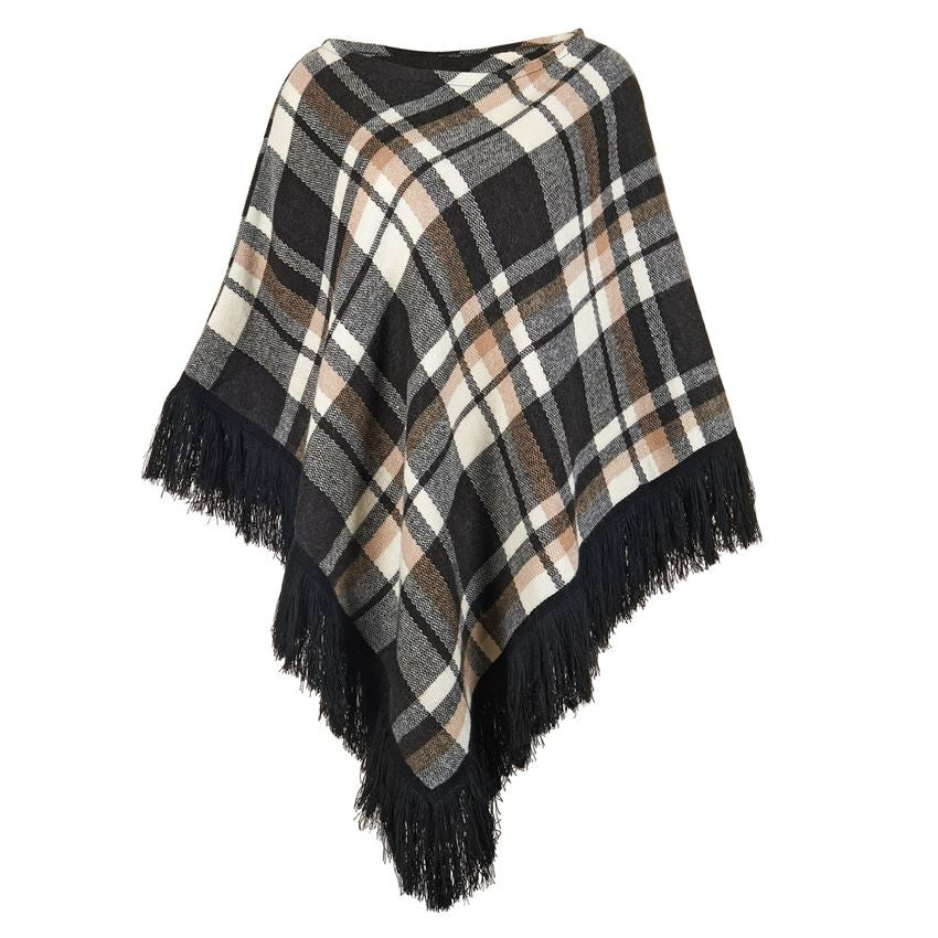 Tea Time Plaid Fringe Poncho-Coco and Carmen-The Bugs Ear