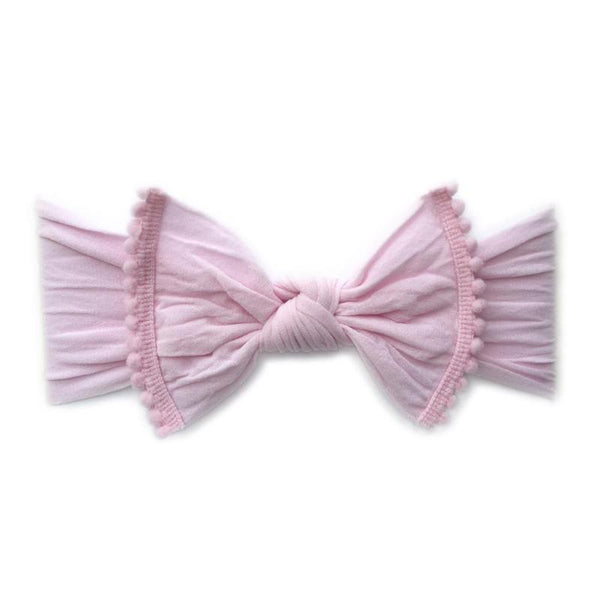 Baby Bling Trimmed Knot Headband Pink Pom-Baby Bling-The Bugs Ear