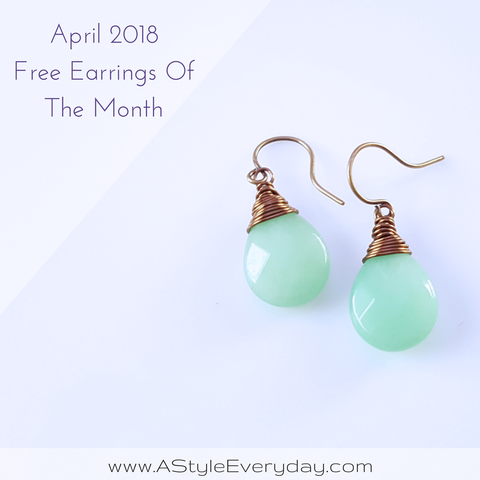 A Style Everyday - Green Jade Gemstone Brass Earrings