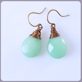 Green Jade Briolette Brass Earrings
