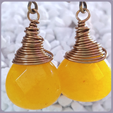 Yellow Jade Briolette Brass Earrings