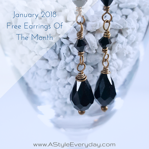 A Style Everyday - Black Crystal Brass Earrings