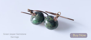Green Jasper Brass Earrings with Peach Bicone Crystals- Quality Handmade Jewelry