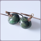 Green Jasper Brass Earrings