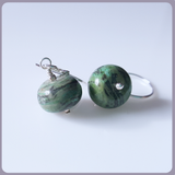 Green Jasper Sterling Silver Earrings