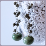 Green Jasper and Pyrite Sterling Silver Earrings