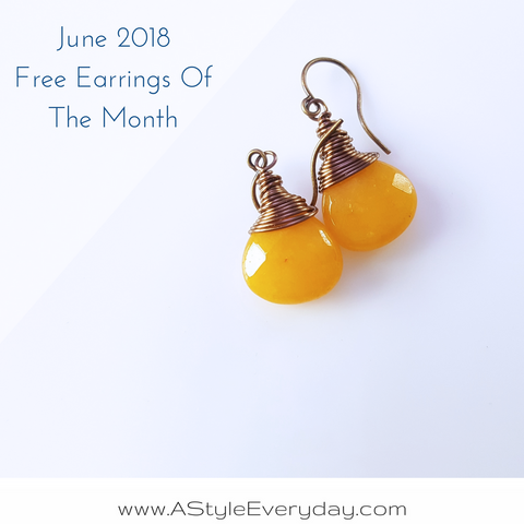 A Style Everyday - Free Earrings Of The Month - June 2018 - Yellow Jade Brass Earrings