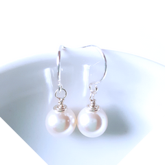 Pure Snow _ Sterling Silver Crystal Pearl Earrings - Thumbnail 01
