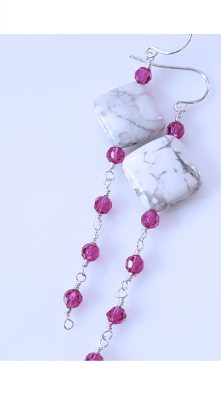 Sterling Silver White Howlite Gemstone with Fuchsia Crystals