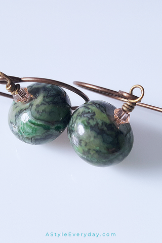 Green Ocean Jasper | Brass Earrings