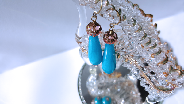 Blue Jade Gemstone Brass Earrings with Pink Crystal A style everyday