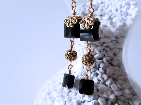 Black Square Crystal Earrings with Gold Accents A Style Everyday