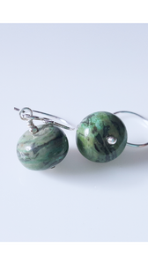 Sterling Silver Green Laguna Jasper Earrings