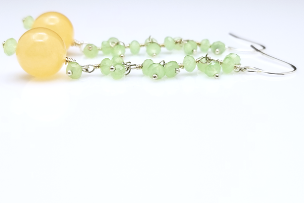 A Touch of Sun | Yellow Jade Brass Earrings