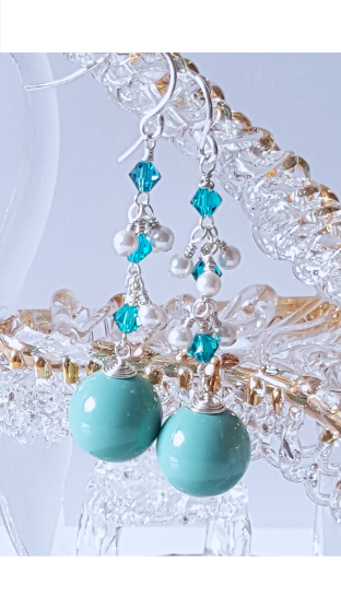 Teal Pearl Cluster Earrings | Silver Earrings