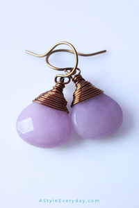 Purple Jade Brass Earrings