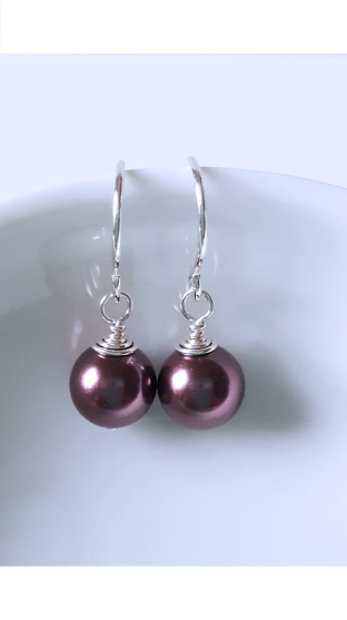 Sterling Silver Petite Dark Burgundy Crystal Pearls