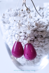 Slightly Askew Purple Jade Sterling Silver Earrings