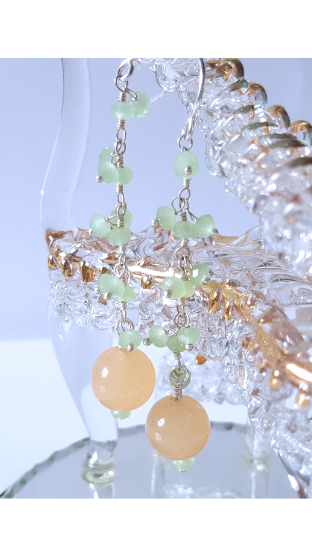 Soft Melody Long and Strong Earrings | Yellow Jade Sterling Silver