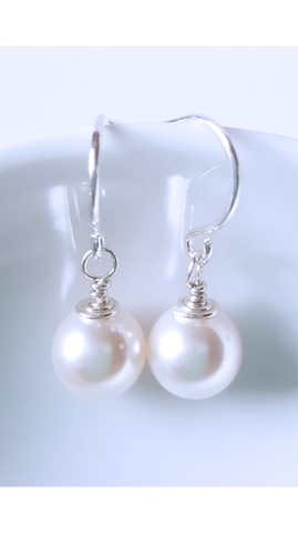Sterling Silver Petite White Crystal Pearls