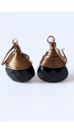 Black Onyx | Brass Earrings