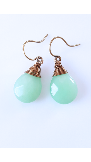 Summer Green Jade Brass Earrings