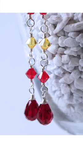 Red Sun Sterling Silver Earrings