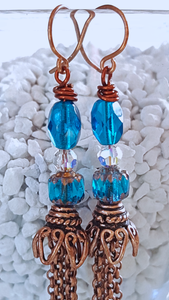 Blue Crystals and Copper Fringe Earrings