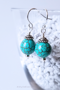 Blue Ocean | Sterling Silver Howlite Gemstone Earrings