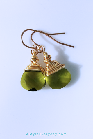 Splash of Green | Gold Filled Crystal Earrings