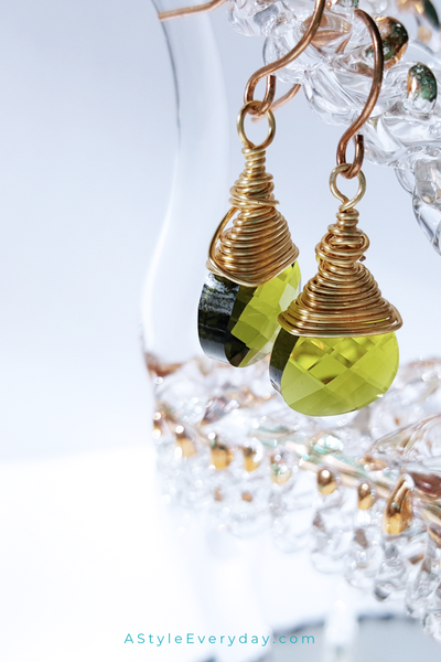 Green Crystal Earrings | Gold Filled Earrings