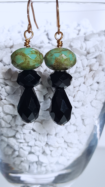 Green and Brown Gemstone with Black Chinese Crystal Gold Earrings - Terra earrings - A Style Everyday