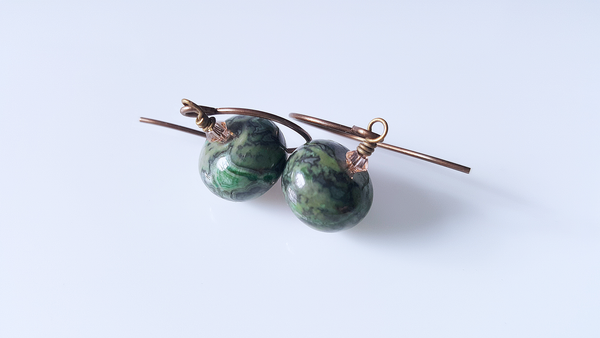 Green Laguna Jasper with Peach Crystal Brass Earrings - A Style Everyday