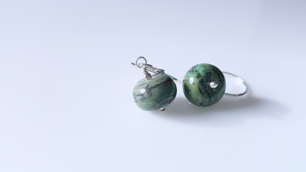 Green Laguna Jasper Gemstone Sterling Silver Earrings - A style everyday - handmade earrings