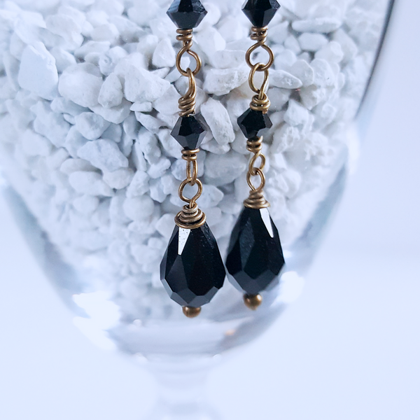 Black Night Crystal Earrings