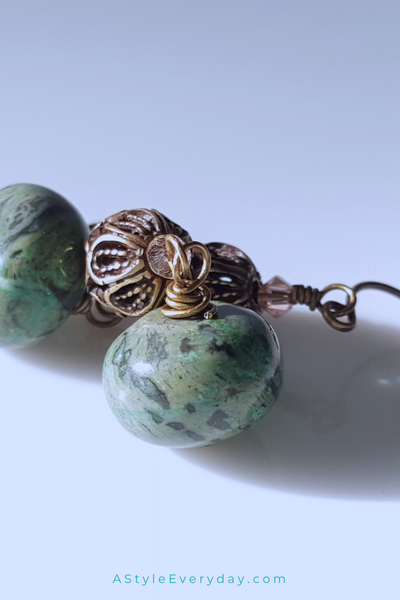 Desert Sands | Green Laguna Jasper Earrings with Brass Accents