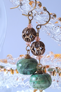 Green Laguna Jasper Earrings with Brass Accents