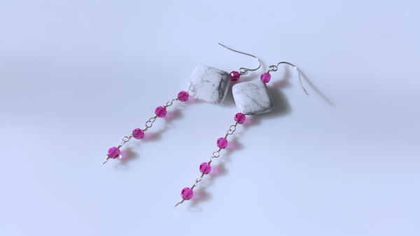 White Howlite Gemstone with Fuchsia Crystals Sterling Silver  Earrings - A style everyday - handmade earrings