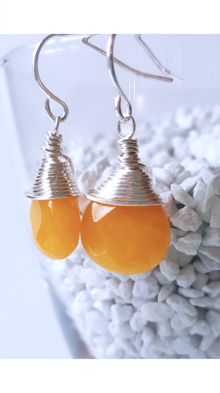 Yellow Sun | Jade Sterling Silver Earrings