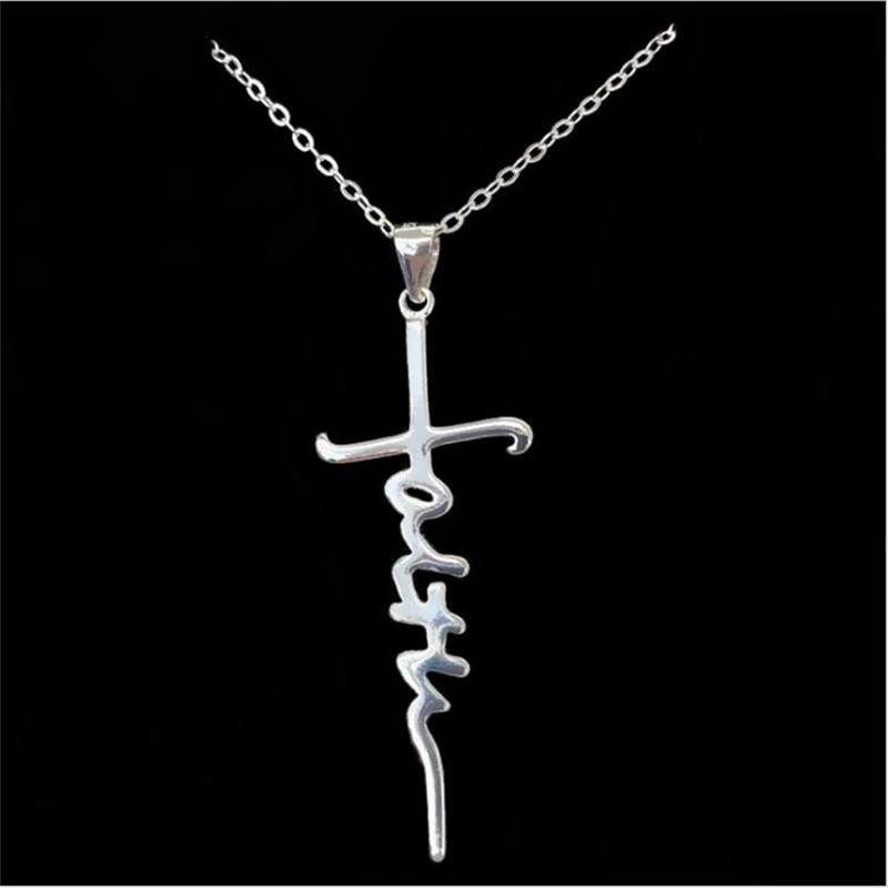 Faith Script Necklace - .925 Sterling Silver