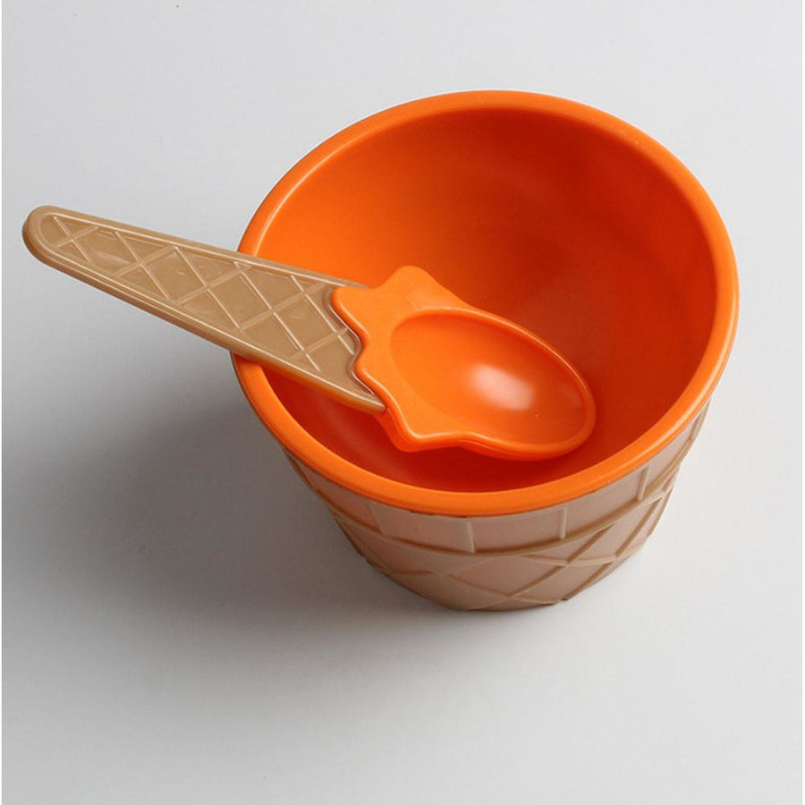 Kids Waffle Bowl and Spoon Dessert Set
