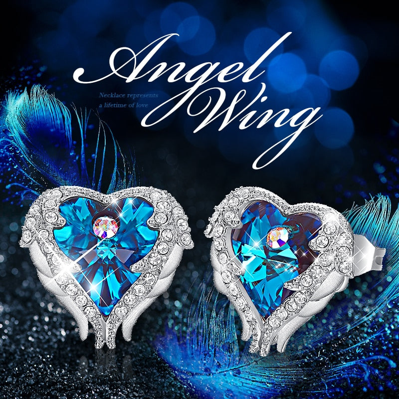 Swarovski Crystal Hugged Angel Wings Earrings