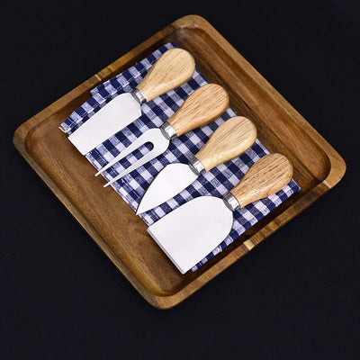 Wooden Handle Cheese Knives (Set of 4)