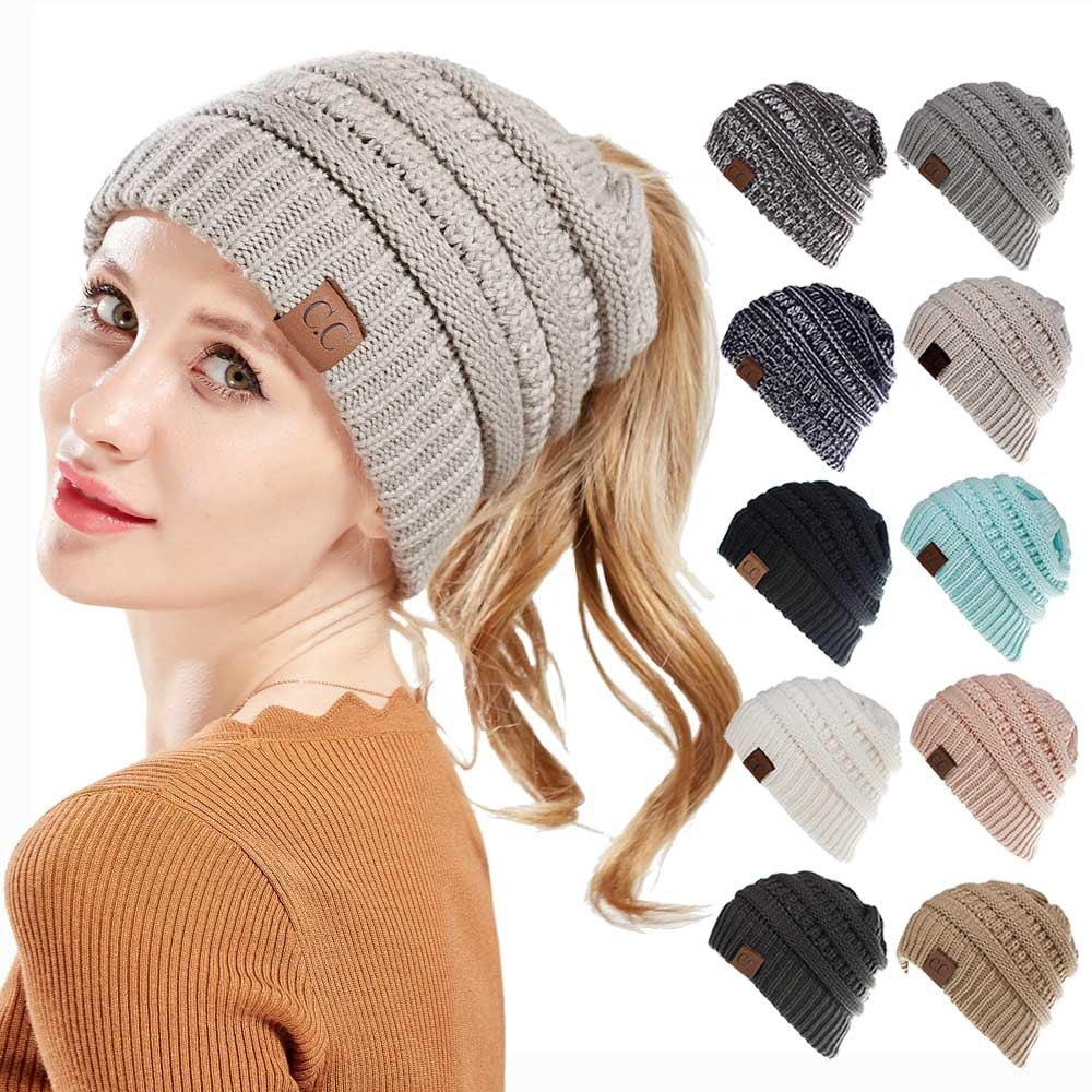 High Bun Ponytail Beanie Hat