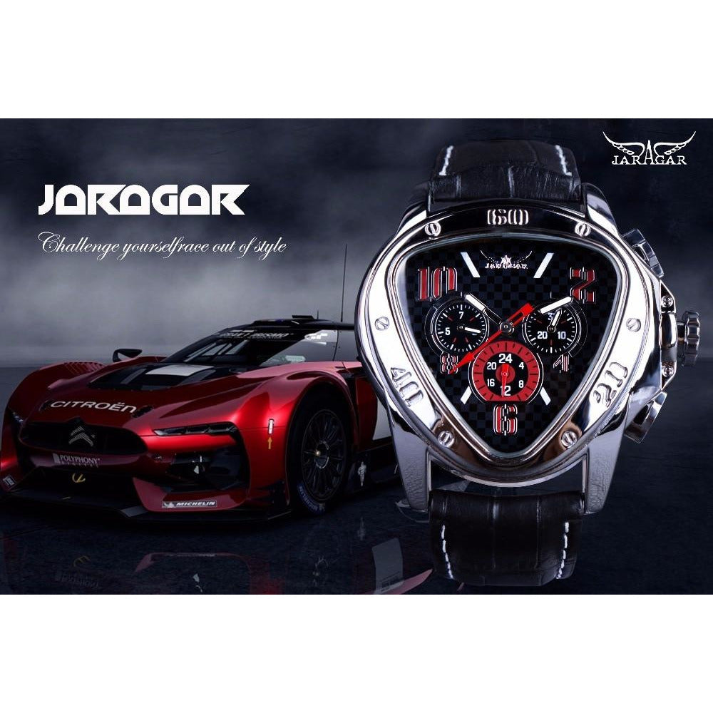 Jaragar HyperRace Men's Sport Racing Design Geometric Triangle Design Genuine Leather Strap Men's Watch - Black Golden
