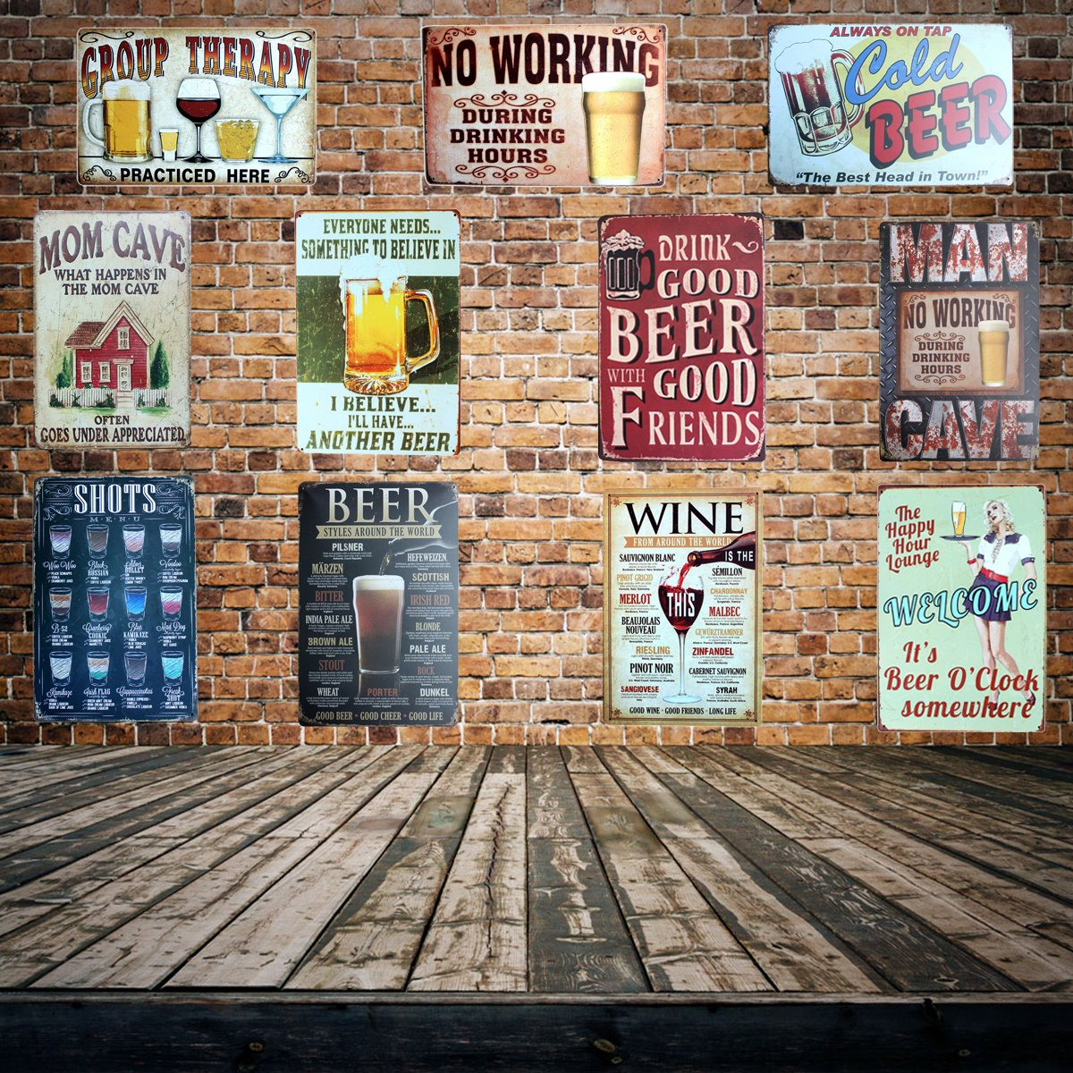 Metal Tin Beer Phrase Signs