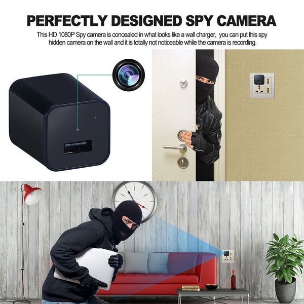 Hidden Spy Camera USB Charger - 8GB 1080P - Nanny Cam